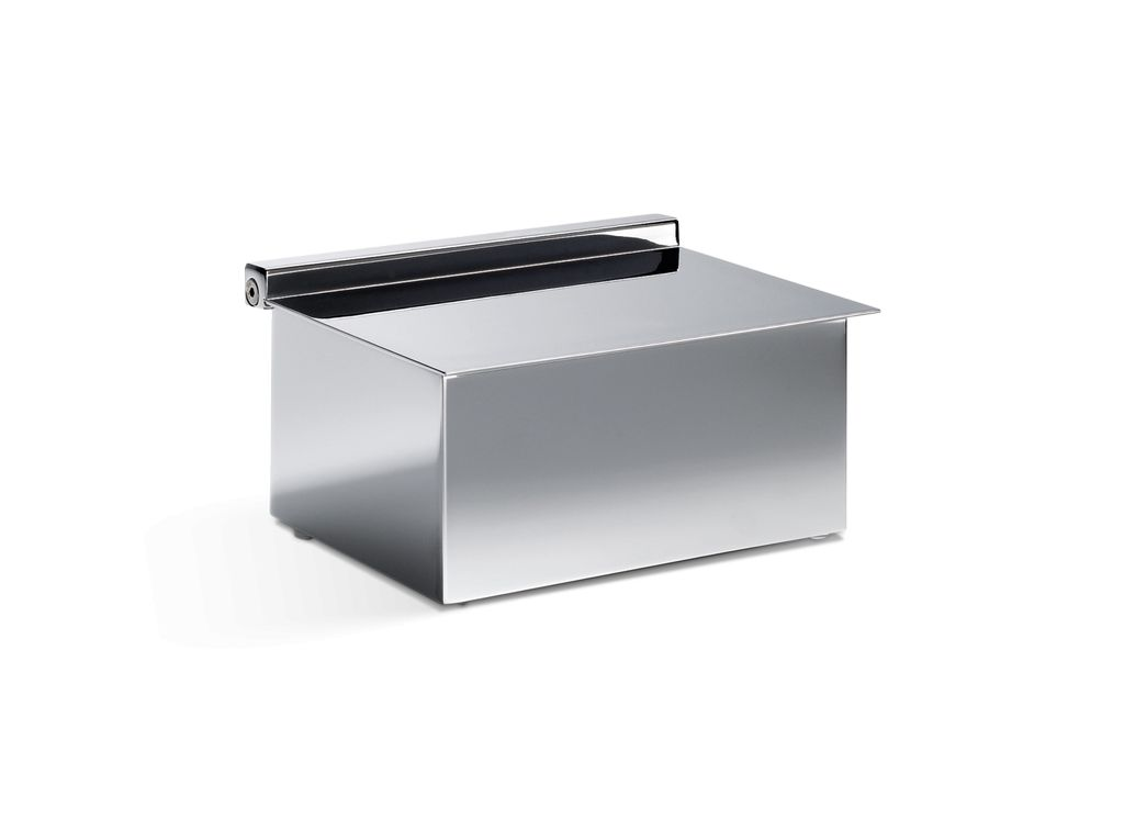 DW - Storage Box for Accessories or Wet Wipes - Hinged Lid - Chrome - H8 x 11.5 x 14.5cm