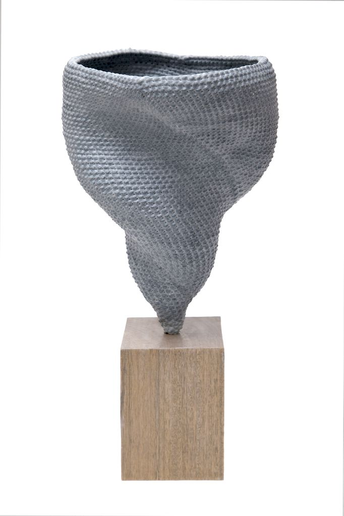 ACCUMULA Vortex (2017 ) - Sculpture in Ceramic Dipped Woven Grey Cotton on Australian hardwood base - 2 by Lyn&Tony