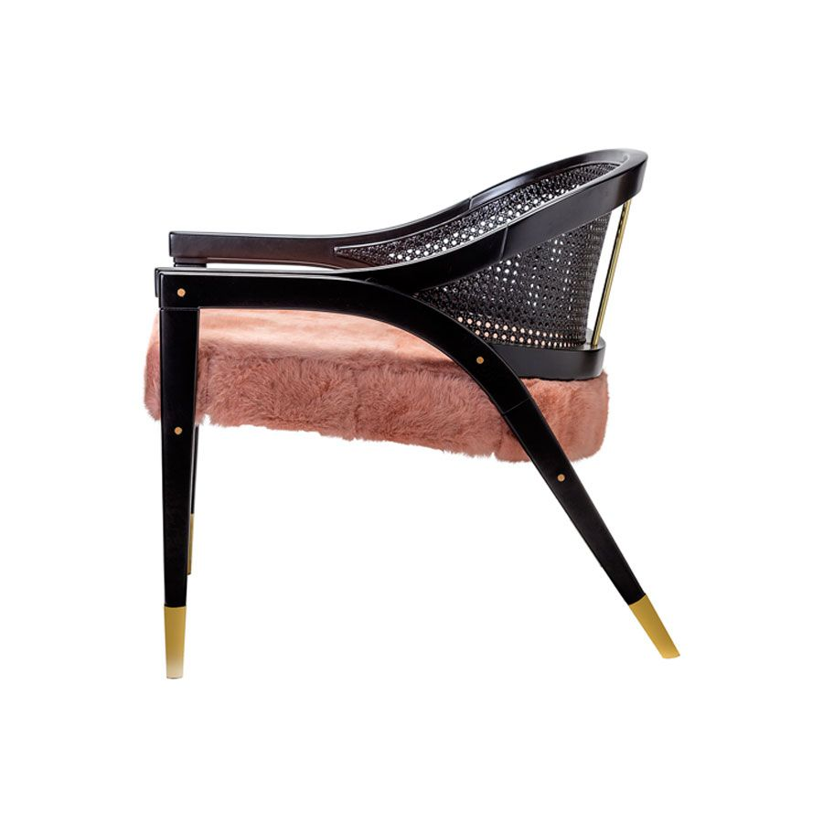 Wormley Chair - Black Lacquer, Rattan and Fur -  Various Fur Colours and Metal Finishes Available (Natural Rattan also available) - W75cm D70cm H68cm