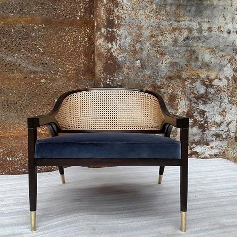 Wormley Chair - Black Lacquer, Rattan and Velvet - Various Velvet Colours and Metal Finishes Available (Black Rattan also available) - W75cm D70cm H68cm