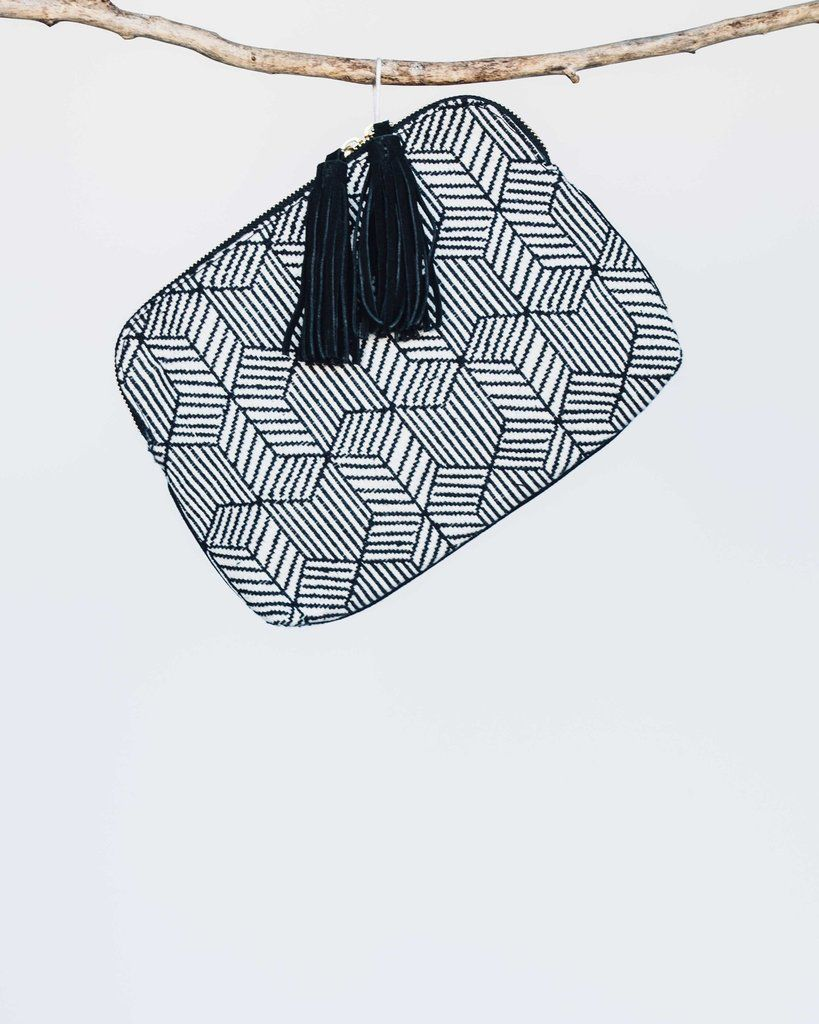 Bloom and Give Elise Kavya Clutch or Bag - Black and White Herringbone