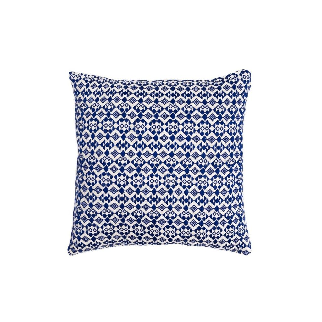 Aniza Aniza Cushion - Royal Blue and Cream - 45x45cm