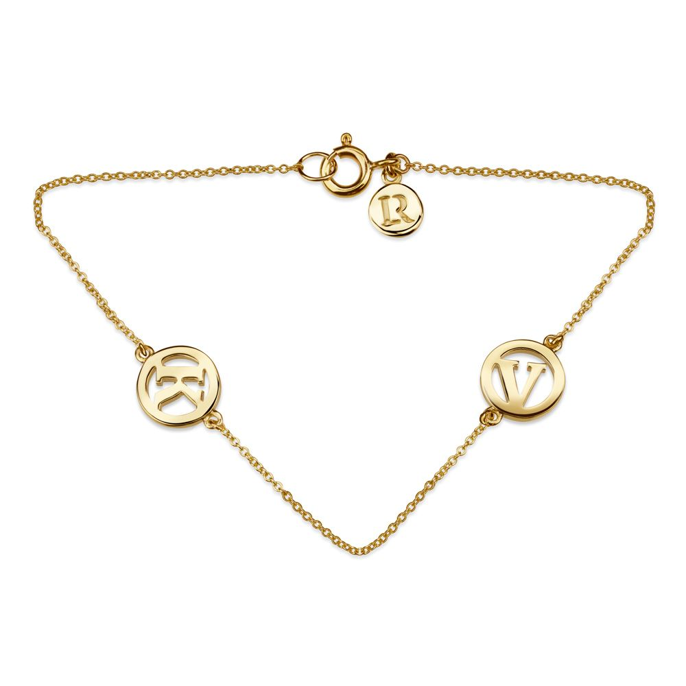 Me & My Unity 2 Initial Bracelet by Luke Rose - 14ct Yellow Gold Diamond Cut Chain with 9ct Yellow Gold Letters - Select your own Initials