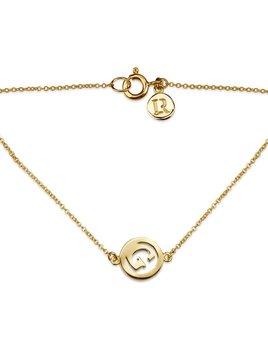 Me & My Initial Bracelet by Luke Rose - 14ct Yellow Gold Diamond Cut Chain with 9ct Yellow Gold Letter