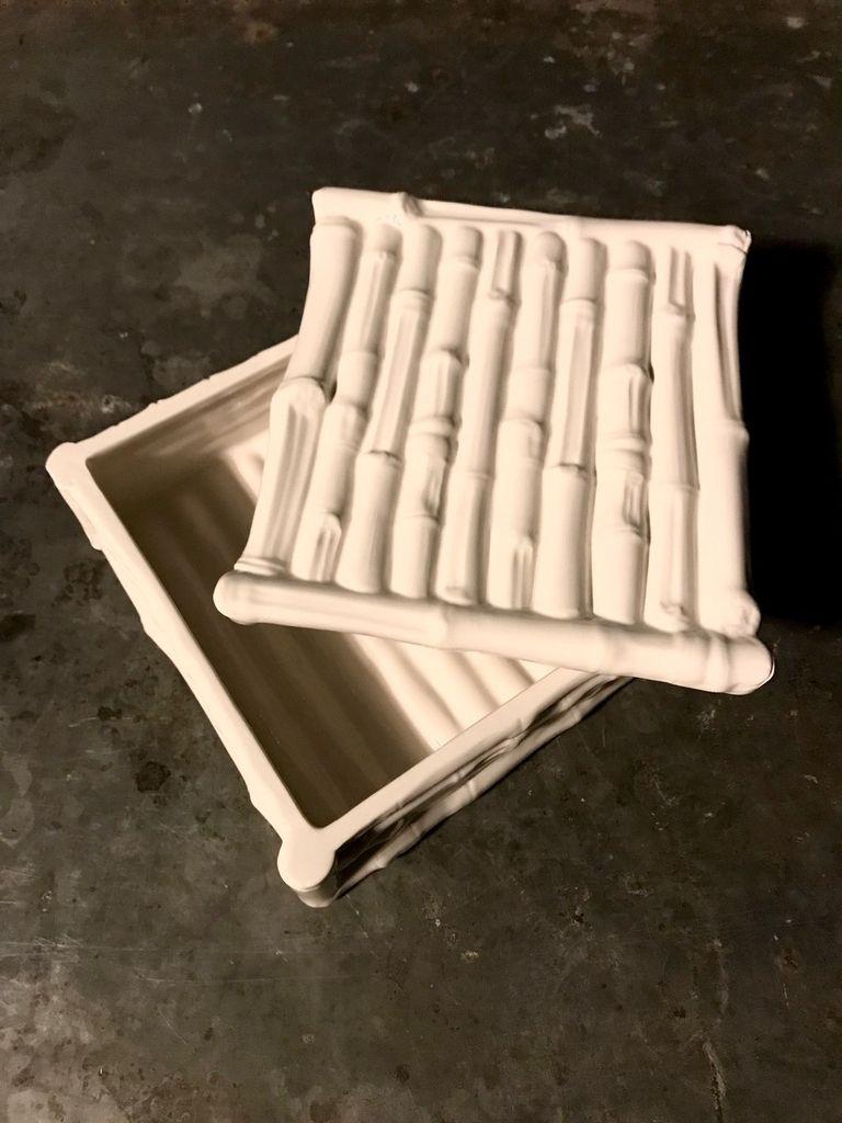 Home Ceramic Bamboo Box - Square - Gloss White - 20x20cm