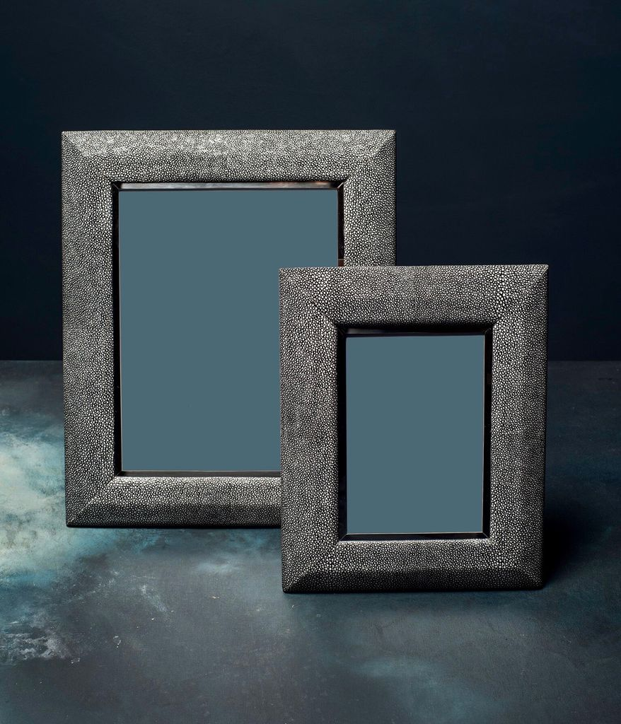 "BECKER MINTY Photo Frame - Charcoal Embossed Shagreen and Polished Stainless Steel - 8"" x 10"""