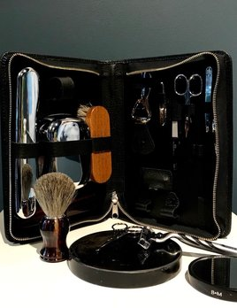 Luxury Calf Leather Travel Grooming Kit - Large - Black - Germany