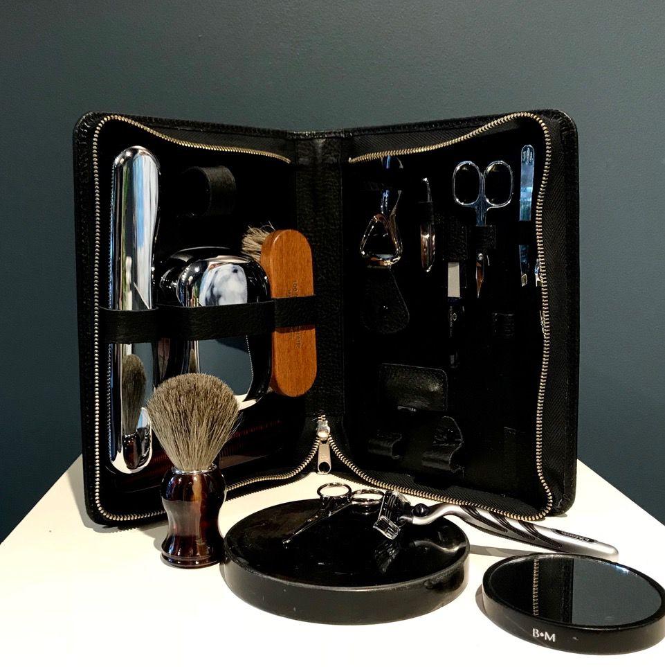 Luxury Calf Leather Travel Grooming Kit - Large - Black - Germany