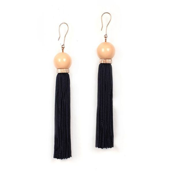 Studio Elke - Tremble Tassel Earrings - New Blush Resin Bead with Midnight Tassel - Solid Rose Gold Hook
