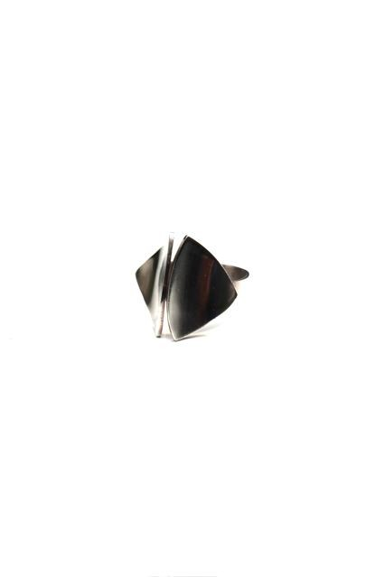 B.M.V.A. Solid Silver Ring - Two Curved and Concave Triangular Panels on a Plain Band. Erik Granit, Granit & Co<br />