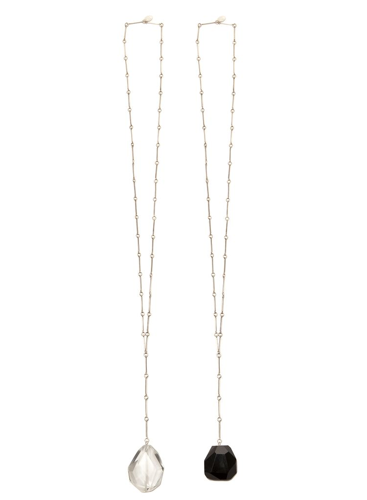 2 by lyn and tony Coda - Handmade Sterling Silver Chain & Facetted Clear Quartz Long Necklace By 2 by Lyn&Tony