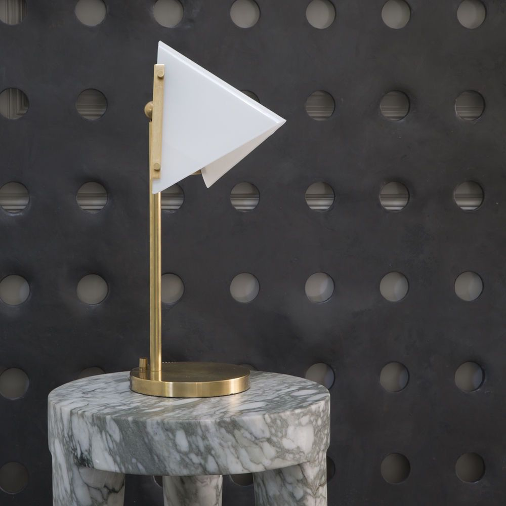 Kelly Wearstler Forma Round Base Table Lamp In Antique Burnished