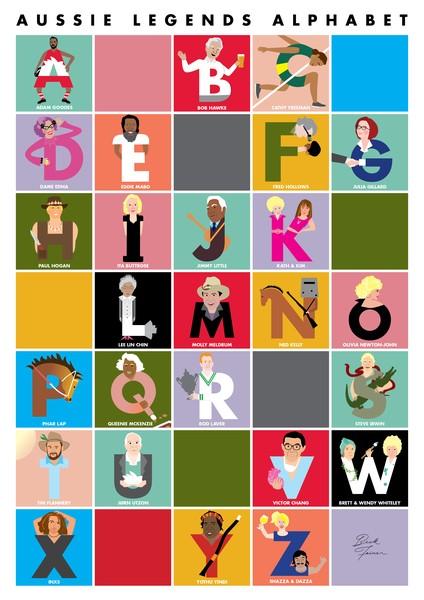 Beck Feiner Aussie Legends Alphabet Poster - Illustrated by Beck Feiner
