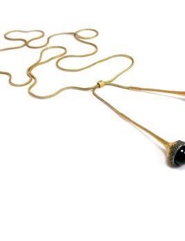 Cecilia Ribeiro Cecilia Ribeiro - Bolota Negra Necklace - Sterling Silver Oxidized Gold Plated - Handmade in Portugal