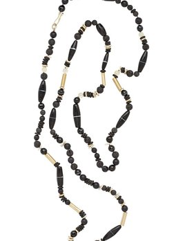 Julie Cohn Julie Cohn Ebony Necklace - Hand Formed Bronze Beads with Agate, Lava, Pearl, Bone and Vintage Nineteenth Century African Glass Beads - Handcrafted in the USA