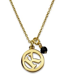 Me & My Initial Necklace with Black Spinel by Luke Rose - 14ct Yellow Gold Diamond Cut Chain with 9ct Yellow Gold Letter