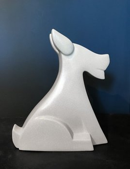 fdc FDC - Fox / Dog - Crackle Glaze Ceramic - Off White - H34cm