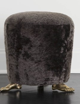 "Kelly Wearstler Kelly Wearstler - Foot Stool - 16"" Dia x 17.5"" H - Mink Shearling"