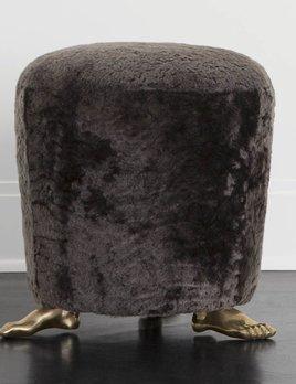 """Kelly Wearstler Kelly Wearstler - Foot Stool - 16"""" Dia x 17.5"""" H - Mink Shearling"""