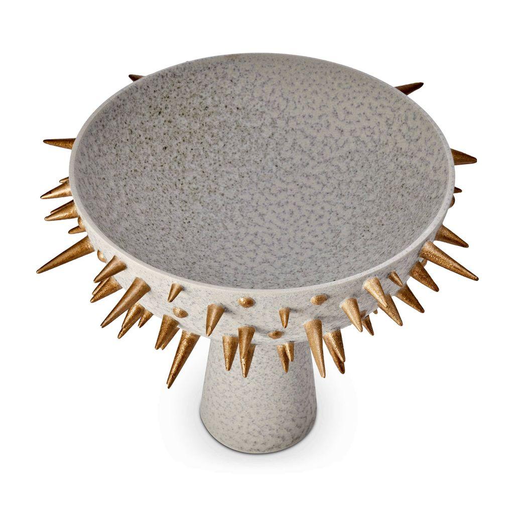 L'Objet L'Objet - Celestial Bowl on Stand - Large - D43xH32cm - Gold on Grey Earthenware
