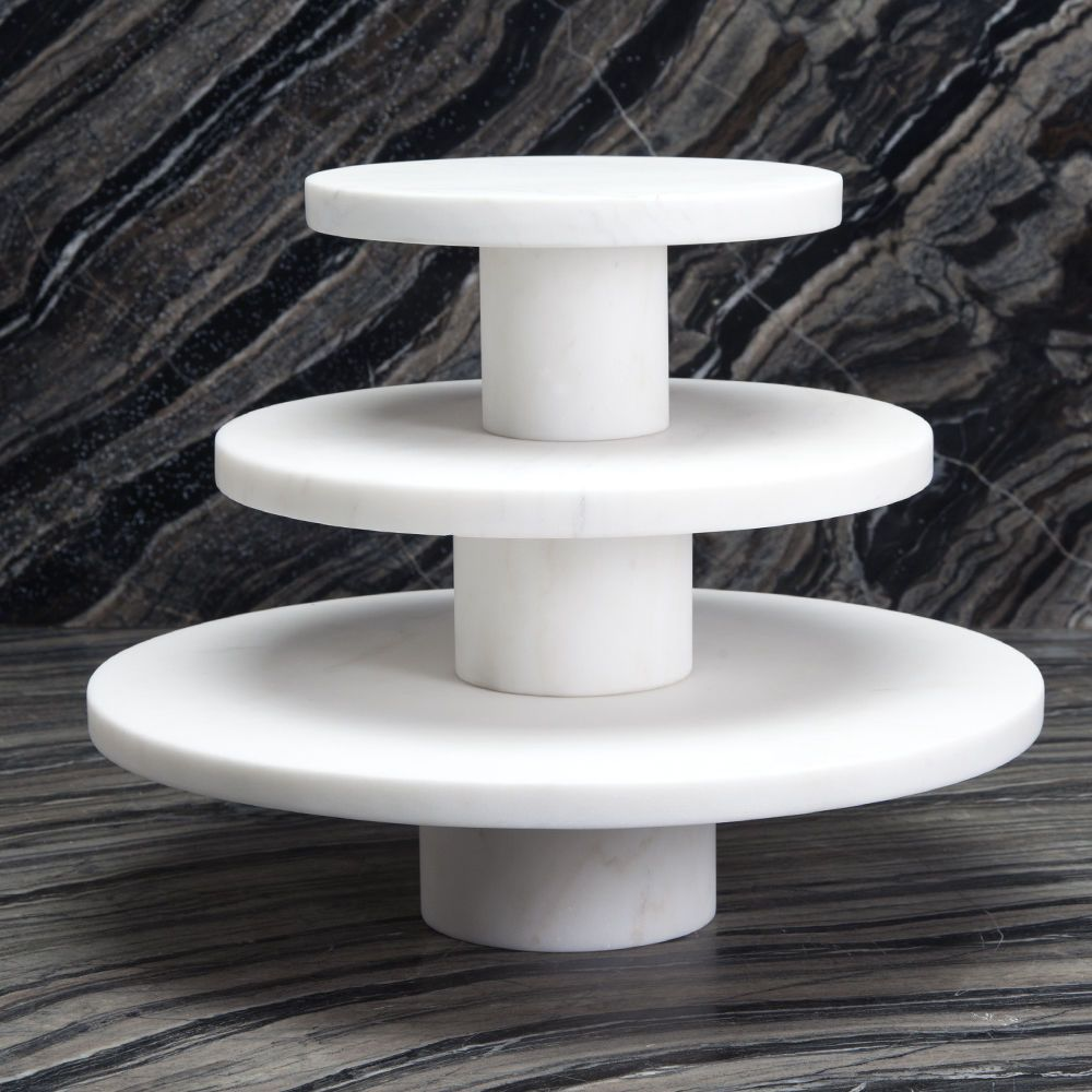 Kelly Wearstler Kelly Wearstler - Melange Entertaining Plate Stand - White Marble - Large - 34.5x10cm