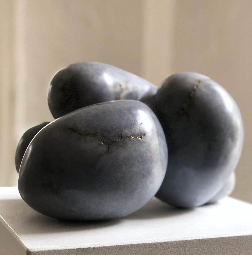 Barbara - Carol Crawford Sculpture - Blue Mist Alabaster (Rare and from the USA) - 27cm W x 19cm D x 19cm H - Australia