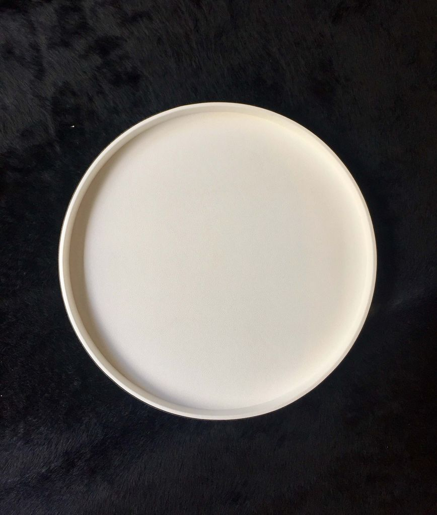 giobagnara Round Polo Tray L -  Printed Calfskin Leather with White Stitching - Wht - 47cm