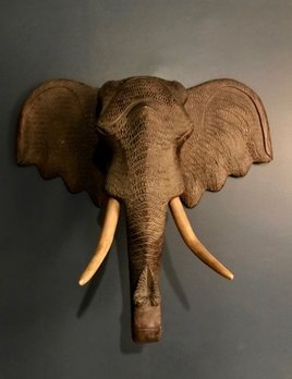 Vintage Carved Hardwood Wooden Elephant Head - Wall Sculpture