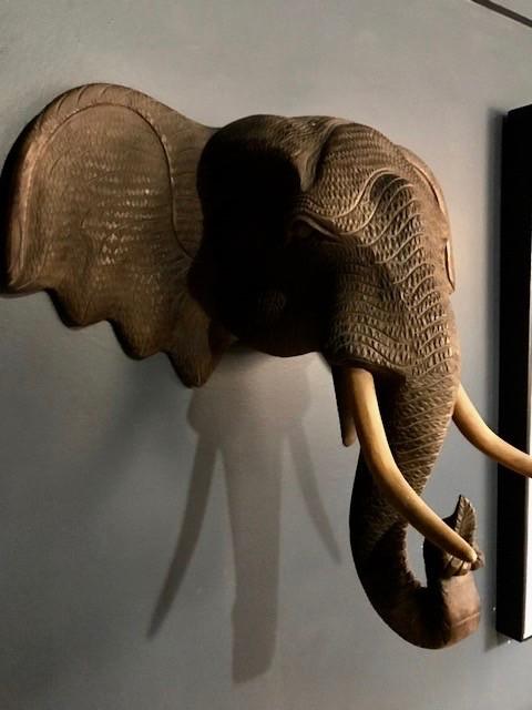 Vintage Carved Hardwood Wooden Elephant Head - Wall Sculpture