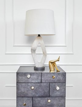 Kelly Wearstler Kelly Wearstler - Palisades Diamond Table Lamp - Alabaster - Height: 31&quot; <br /> Width: 16&quot; <br /> Base: 6&quot; Round