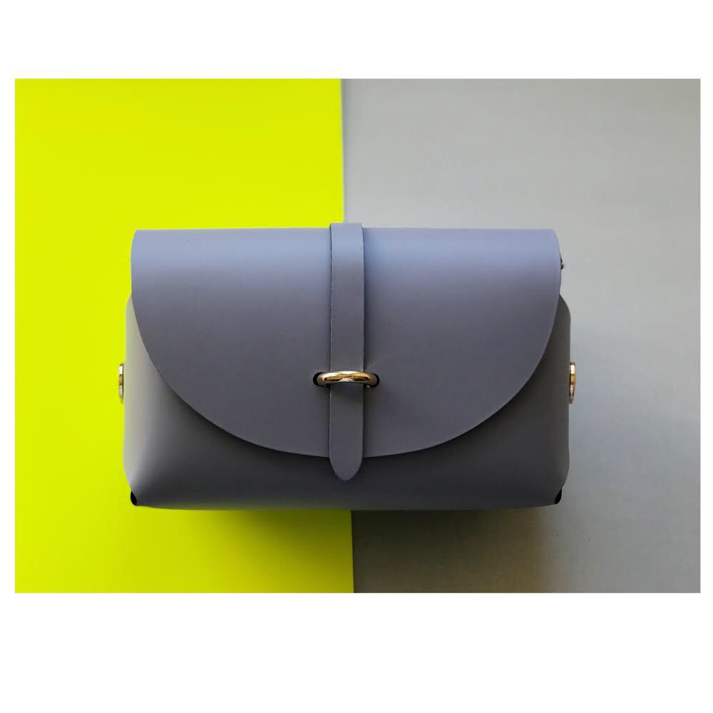 Albertine Imports AMBER - Leather Barrel Bag with Detachable Cross Body Strap - Lilac Gray -  Handmade in Athens