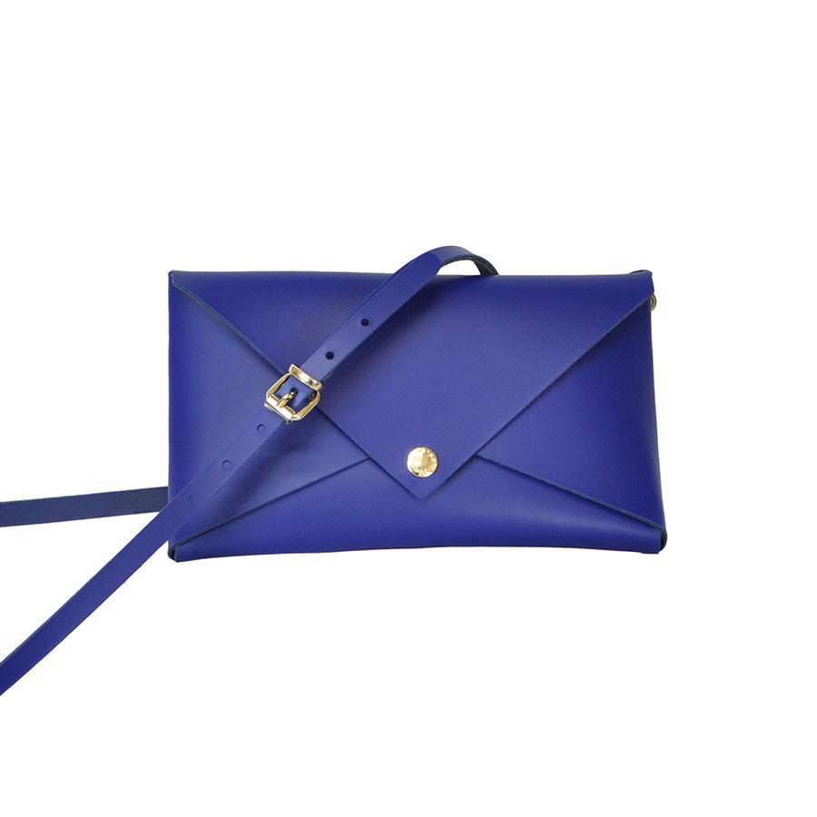 Albertine Imports MELANIE - Small Leather Clutch with Detachable Cross Body Strap - Royal Blue -  Handmade in Athens