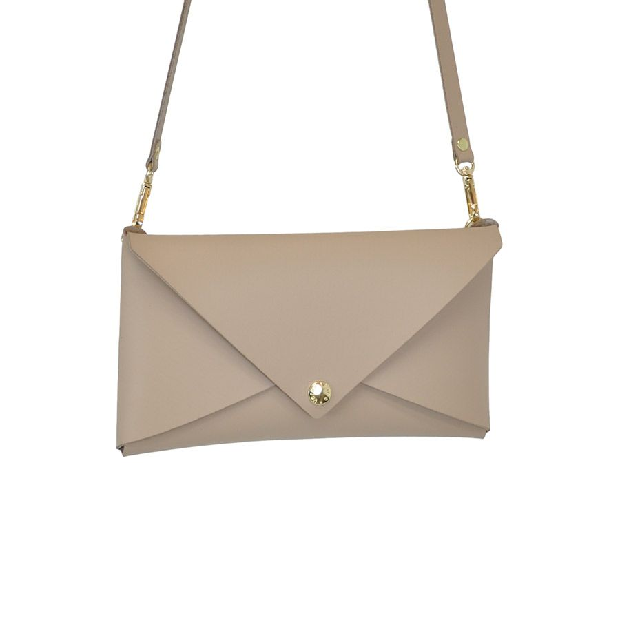 Albertine Imports MELANIE - Small Leather Clutch with Detachable Cross Body Strap - Nude -  Handmade in Athens
