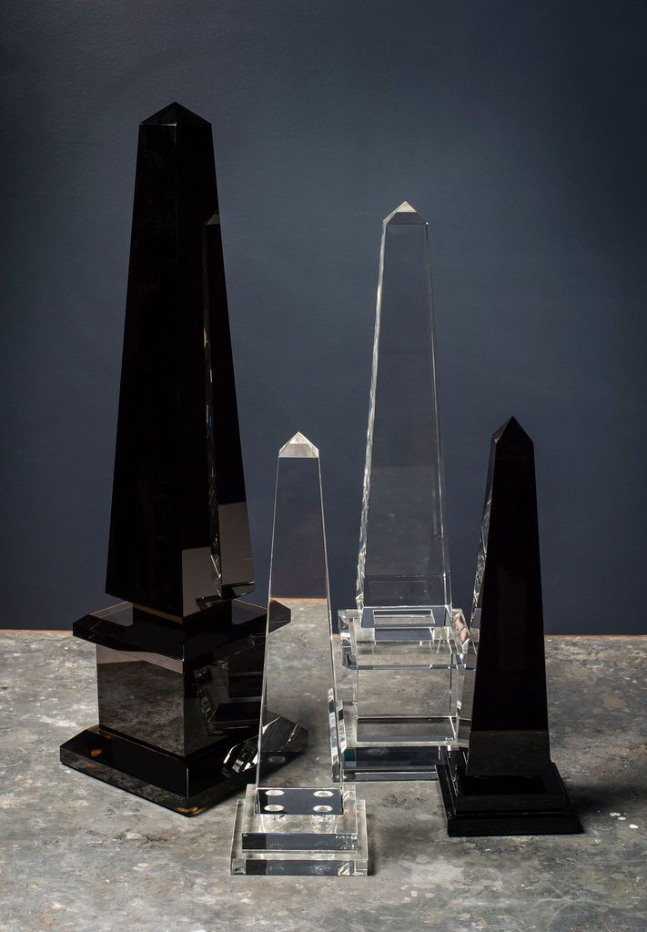 BECKER MINTY BECKER MINTY - Obelisk with Ball Detail - Small - Dark Topaz Crystal Glass - H38cm