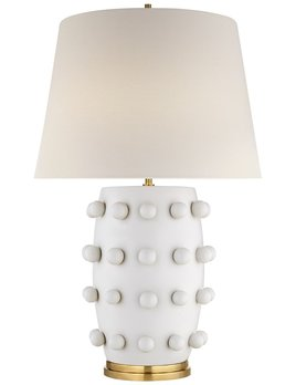 Kelly Wearstler Kelly Wearstler - Linden Medium Lamp in Plaster White with Linen Shade - H67cm W 43cm B16.5cm