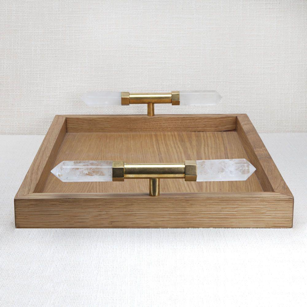 Kelly Wearstler Kelly Wearstler - Gemma Tray - <br /> White Oak with Natural Bronze Bezel set Quartz Points - 43x33x2cm