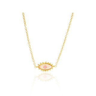 Sylvia Toledano Sylvia Toledano - Third Eye Necklace -18ct Gold Plated Brass with Pink and Ruby Quartz - Paris