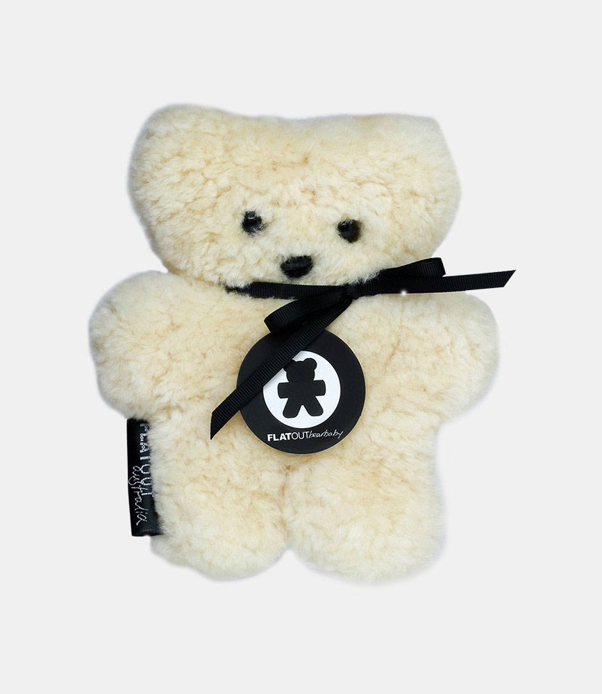 Flat Out Austrlia Flat Out Bear Mini Bear - Hand Made from 100% Sheep Skin - 18x16cm - Assorted Colours