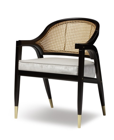 Wormley Dining Chair Natural Wood Or Black Lacquer And Rattan Various Velvet Colours Available W59cm D57cm H81cm
