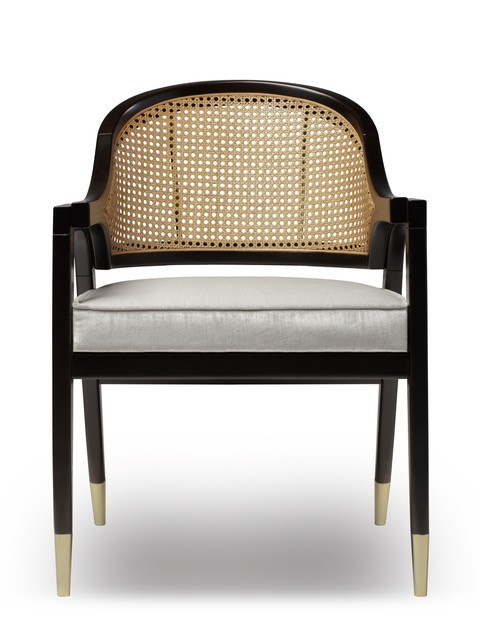 Wormley Dining Chair - Natural Wood or Black Lacquer and Rattan - Various Velvet Colours Available - W59cm D57cm H81cm