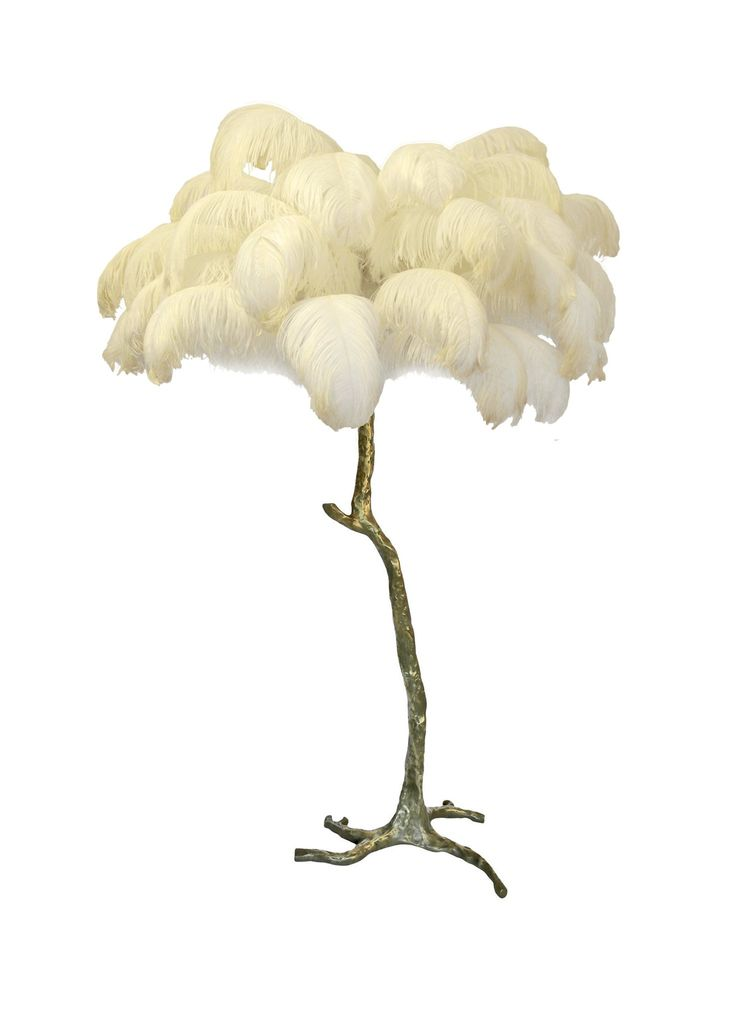 Aynhoe The Ostrich Feather Lamp with Brass Dipped Base