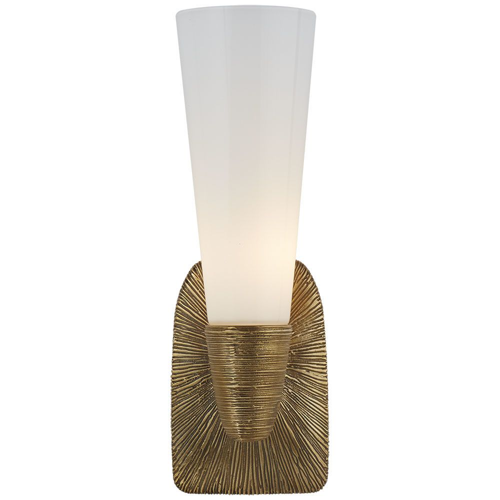 Kelly Wearstler Kelly Wearstler - Utopia Small Single Bath Sconce in Gild with White Glass