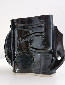 Natalie Rosin Black Ceramic Vase (short) by Natalie Rosin - Handmade in Australia