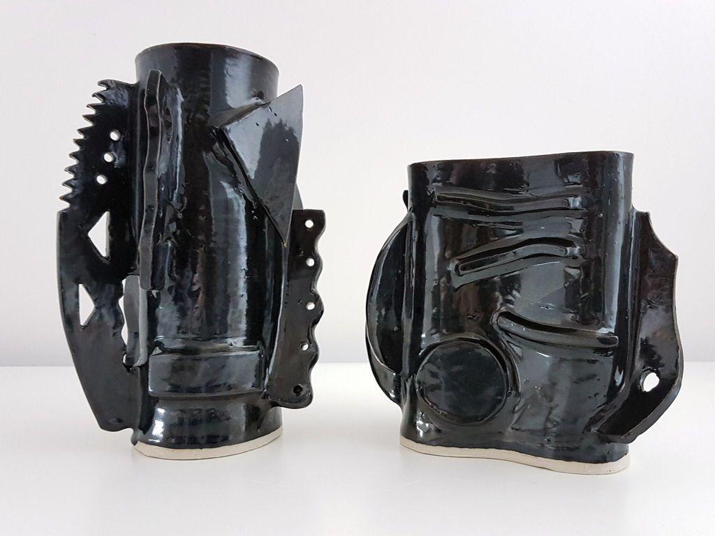 Natalie Rosin Black Ceramic Vase (short) by Natalie Rosin - Handmade in Australia