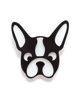 BECKER MINTY Bulldog - Dog Brooch - Laser Cut Plexiglass - From Russia with Love