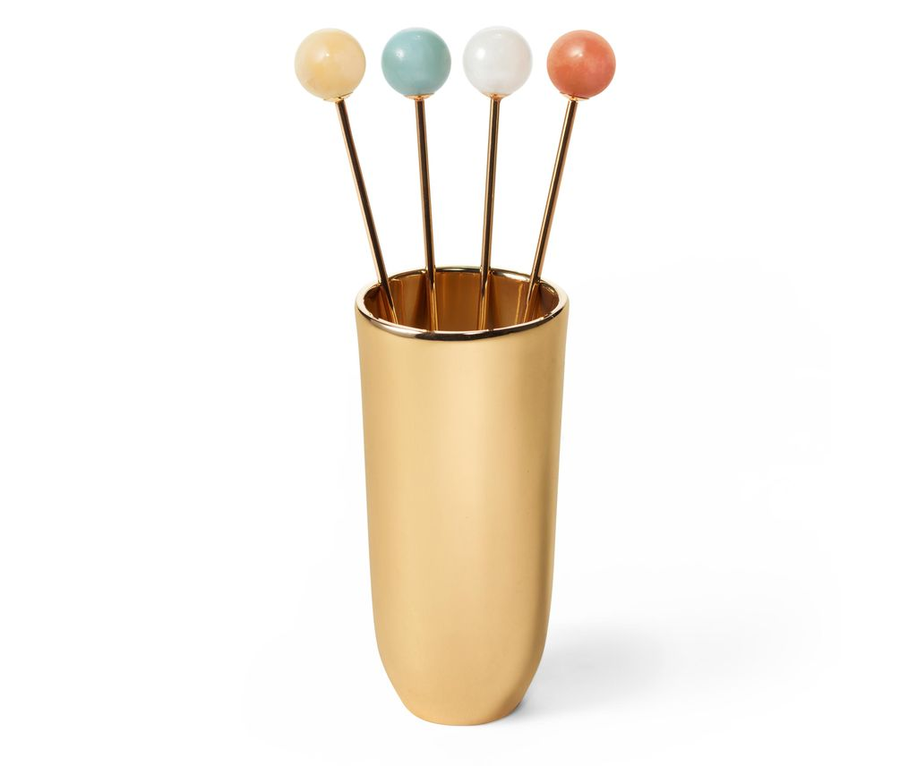 AERIN - Anette Cocktail Picks with Holder - Brass and Semi Precious Stones