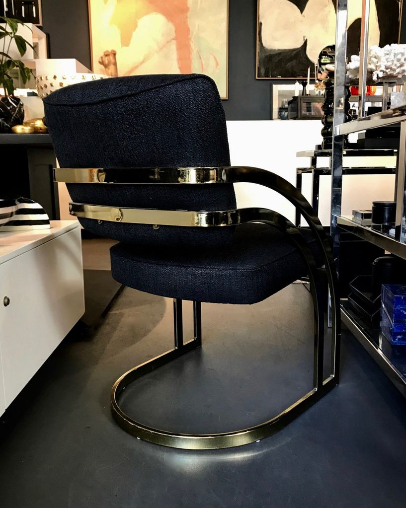 B.M.V.A. Vintage Set of Two 2 Gold Cantilever Dining or Occasional Chairs in the Manner of  Milo Baughman - Newly upholstered in Catherine Martin Medina - Midnight c1975 Seat H  46cm- Arm H 64cm