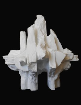 Dan Schneiger Organic Free Standing Sculpture - Dan Schneiger - Resin Coated New and Recylced Wood Materials - White Finish - H43cm approx