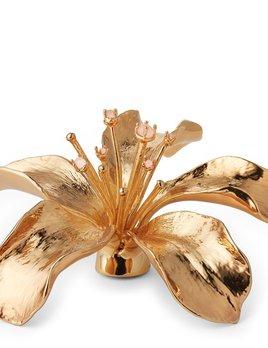 AERIN - Lily Flower Objet - 6.5l x 6w x 2.5h - Brass, Rose Quartz