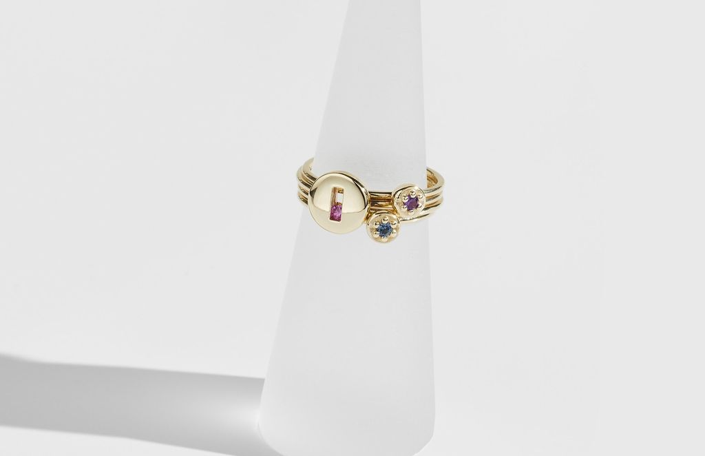 Rolling Rock Ring by Luke Rose - 9ct Yellow Gold - Available in your choice of Gemstone: Black, White, Pink, Blue, Yellow Sapphire, Tsavorite Garnet and Amethyst